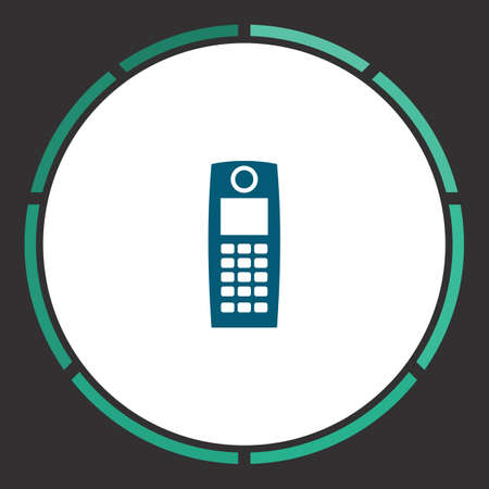 Phone Icon Vector. Flat simple Blue pictogram in a circle. Illustration symbol
