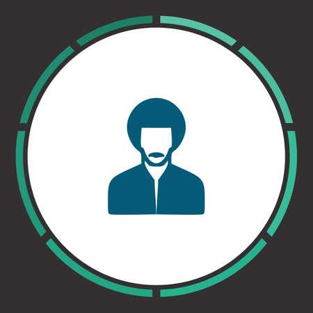 Rastafarian Icon Vector. Flat simple Blue pictogram in a circle. Illustration symbol Illustration