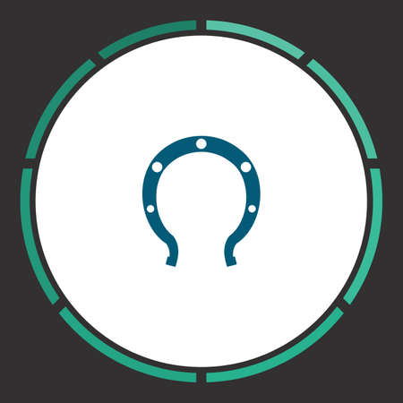 Horseshoe Icon Vector. Flat simple Blue pictogram in a circle. Illustration symbol