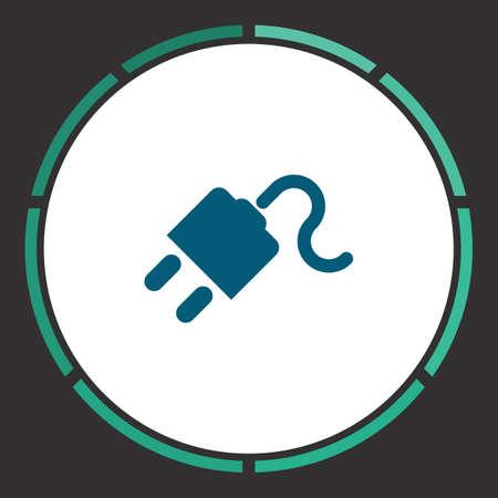 ac: Plug Icon Vector. Flat simple Blue pictogram in a circle. Illustration symbol Illustration