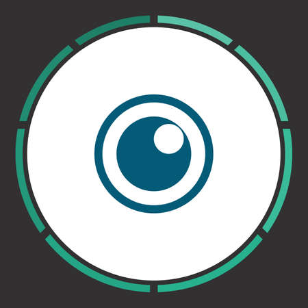 voyeur: Peephole Icon Vector. Flat simple Blue pictogram in a circle. Illustration symbol