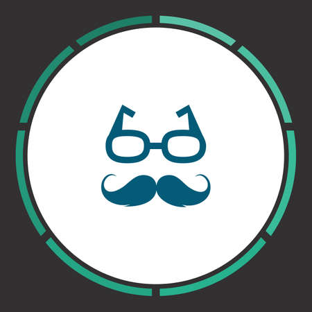 Hipster Icon Vector. Flat simple Blue pictogram in a circle. Illustration symbol