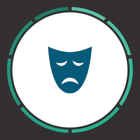 Mask Icon Vector. Flat simple Blue pictogram in a circle. Illustration symbol