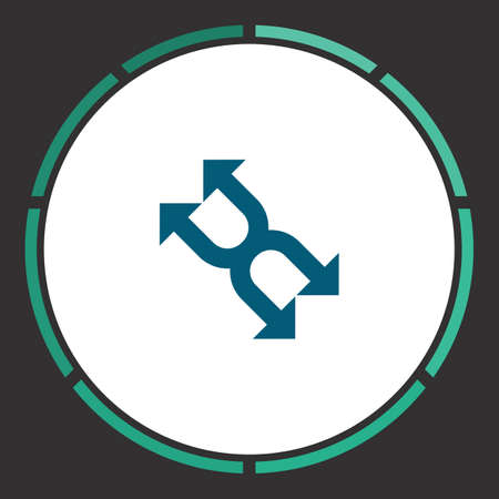 Arrows Icon Vector. Flat simple Blue pictogram in a circle. Illustration symbol
