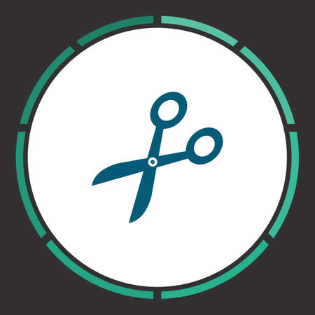 Scissors Icon Vector. Flat simple Blue pictogram in a circle. Illustration symbol