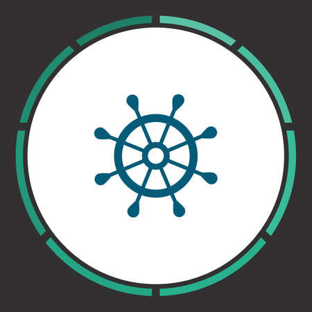 Ship helm Icon Vector. Flat simple Blue pictogram in a circle. Illustration symbol