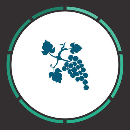 Grapes Icon Vector. Flat simple Blue pictogram in a circle. Illustration symbol