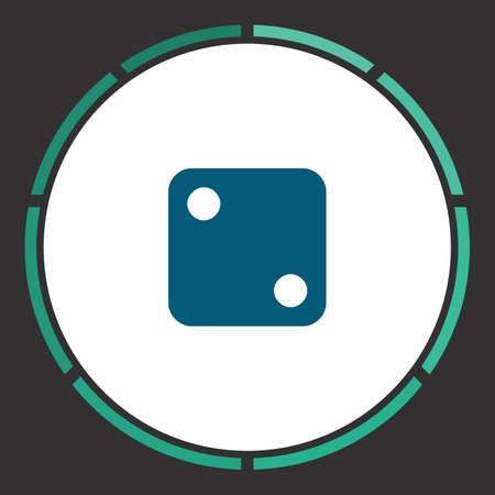 backgammon: Dice Icon Vector. Flat simple Blue pictogram in a circle. Illustration symbol Illustration