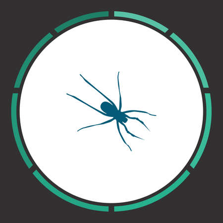 Spider Icon Vector. Flat simple Blue pictogram in a circle. Illustration symbol