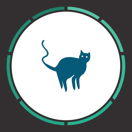 Cat Icon Vector. Flat simple Blue pictogram in a circle. Illustration symbol