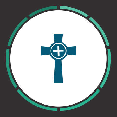 Grave Icon Vector. Flat simple Blue pictogram in a circle. Illustration symbol