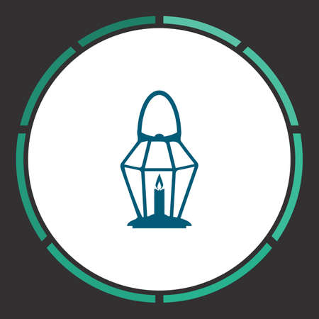 oillamp: Lamp Icon Vector. Flat simple Blue pictogram in a circle. Illustration symbol Illustration