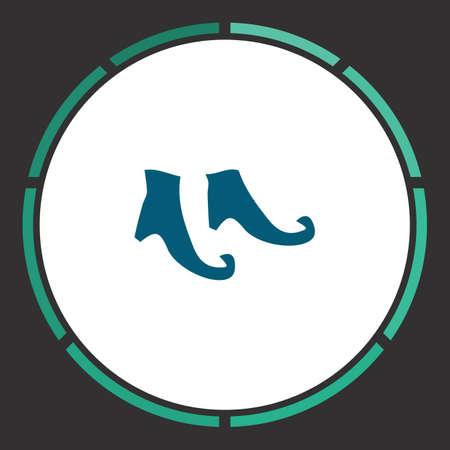 Boots Icon Vector. Flat simple Blue pictogram in a circle. Illustration symbol