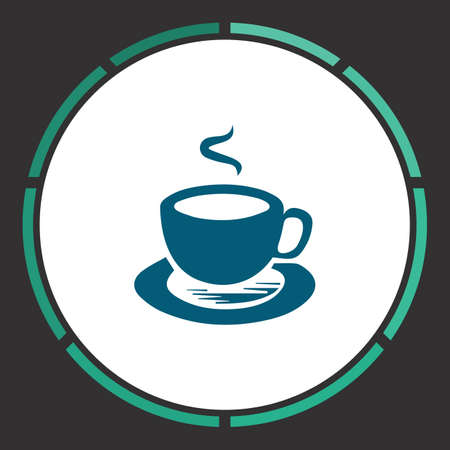 Tea Icon Vector. Flat simple Blue pictogram in a circle. Illustration symbol Illustration