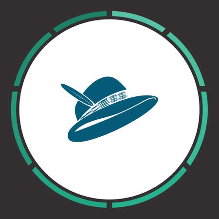 Hat Icon Vector. Flat simple Blue pictogram in a circle. Illustration symbol