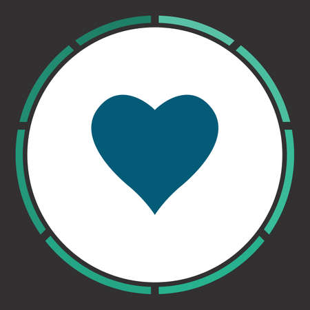 february 1: Heart Icon Vector. Flat simple Blue pictogram in a circle. Illustration symbol