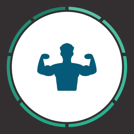defined: Powerful Icon Vector. Flat simple Blue pictogram in a circle. Illustration symbol Illustration