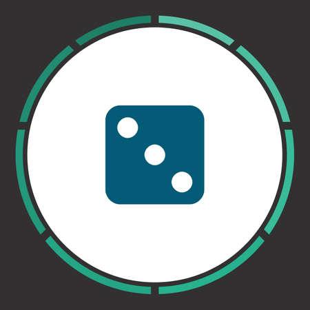 backgammon: Dice Icon Vector. Flat simple Blue pictogram in a circle. Illustration symbol Illustration