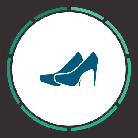 Shoes Icon Vector. Flat simple Blue pictogram in a circle. Illustration symbol