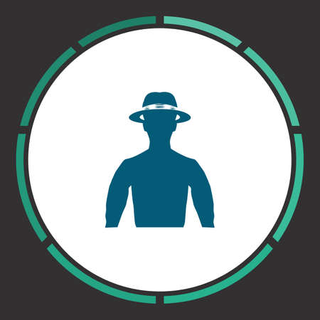 Avatar Icon Vector. Flat simple Blue pictogram in a circle. Illustration symbol