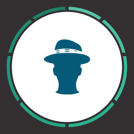 masculinity: Head Icon Vector. Flat simple Blue pictogram in a circle. Illustration symbol