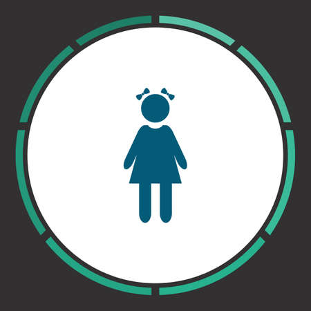 Girl Icon Vector. Flat simple Blue pictogram in a circle. Illustration symbol