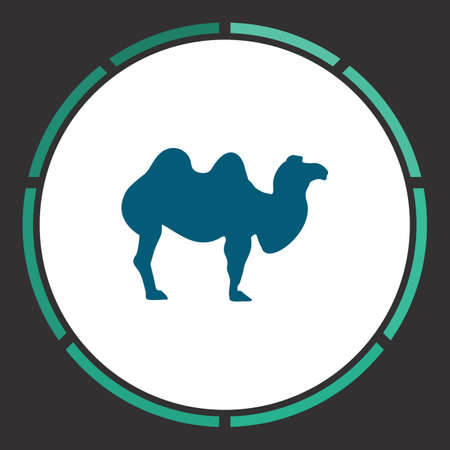 Camel Icon Vector. Flat simple Blue pictogram in a circle. Illustration symbol