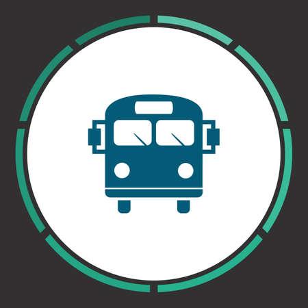 schoolbus: Bus Icon Vector. Flat simple Blue pictogram in a circle. Illustration symbol Illustration