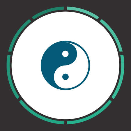 daoism: Ying yang Icon Vector. Flat simple Blue pictogram in a circle. Illustration symbol