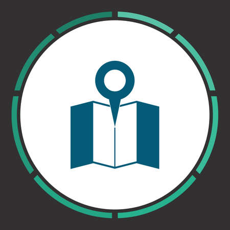 Map pin Icon Vector. Flat simple Blue pictogram in a circle. Illustration symbol  イラスト・ベクター素材