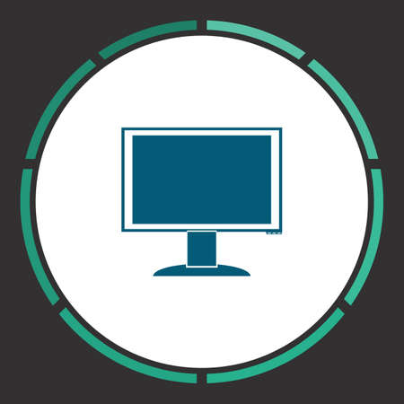 hdtv: Monitor Icon Vector. Flat simple Blue pictogram in a circle. Illustration symbol