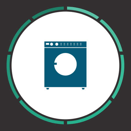 fully automatic: Laundry Icon Vector. Flat simple Blue pictogram in a circle. Illustration symbol