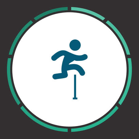 Jumping Icon Vector. Flat simple Blue pictogram in a circle. Illustration symbol Illustration