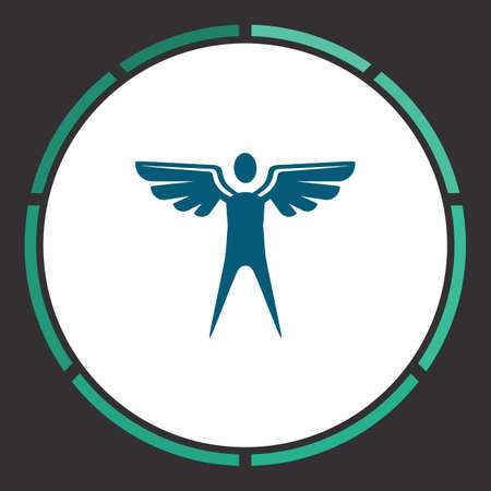 icarus: Winged Icon Vector. Flat simple Blue pictogram in a circle. Illustration symbol