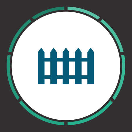 Fence Icon Vector. Flat simple Blue pictogram in a circle. Illustration symbol