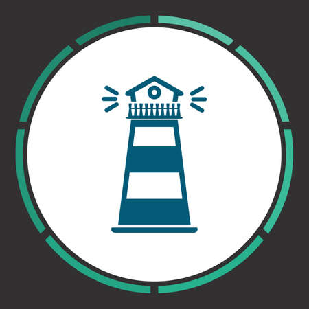 Lighthouse Icon Vector. Flat simple Blue pictogram in a circle. Illustration symbol Illustration