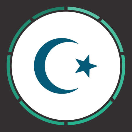 Islam Icon Vector. Flat simple Blue pictogram in a circle. Illustration symbol