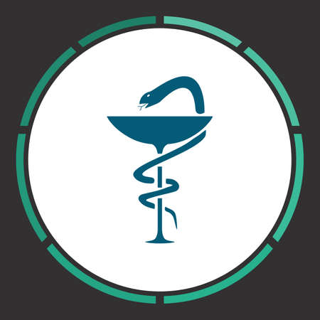 Medical Icon Vector. Flat simple Blue pictogram in a circle. Illustration symbol