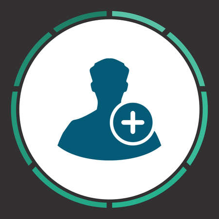 Add profile Icon Vector. Flat simple Blue pictogram in a circle. Illustration symbol Illustration