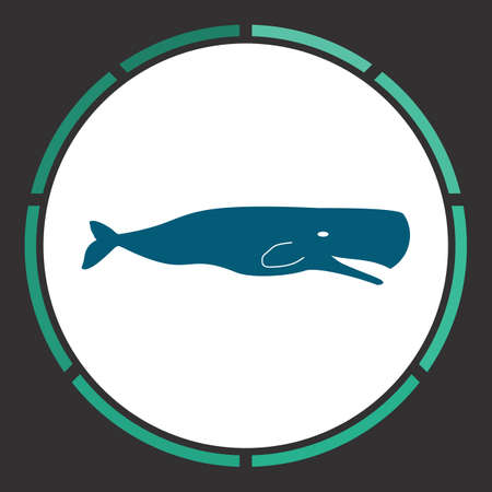 deepsea: Whale Icon Vector. Flat simple Blue pictogram in a circle. Illustration symbol