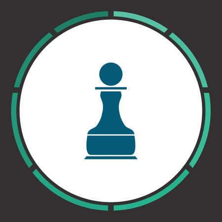 Chess Icon Vector. Flat simple Blue pictogram in a circle. Illustration symbol