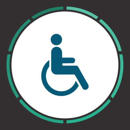 Cripple Icon Vector. Flat simple Blue pictogram in a circle. Illustration symbol