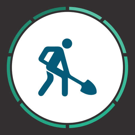 Building works Icon Vector. Flat simple Blue pictogram in a circle. Illustration symbol Illustration