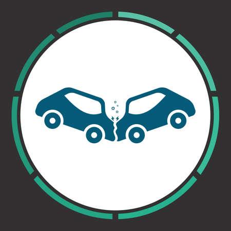 Car crash Icon Vector. Flat simple Blue pictogram in a circle. Illustration symbol