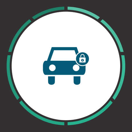 Car protected Icon Vector. Flat simple Blue pictogram in a circle. Illustration symbol