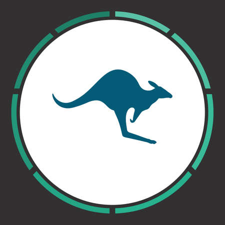 avestruz: Kangaroo Icon Vector. Flat simple Blue pictogram in a circle. Illustration symbol