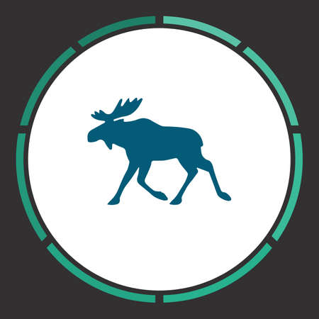 Elk Icon Vector. Flat simple Blue pictogram in a circle. Illustration symbol