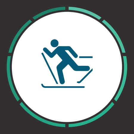 Skiing Icon Vector. Flat simple Blue pictogram in a circle. Illustration symbol