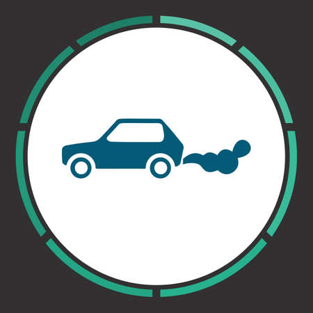 Car smoke Icon Vector. Flat simple Blue pictogram in a circle. Illustration symbol