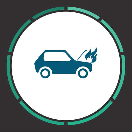 insure: Car fire Icon Vector. Flat simple Blue pictogram in a circle. Illustration symbol Illustration